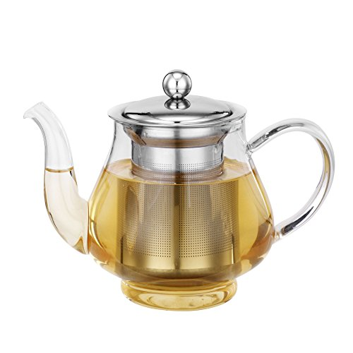 vonshef 25 oz glass stainless steel infusion tea pot. Black Bedroom Furniture Sets. Home Design Ideas
