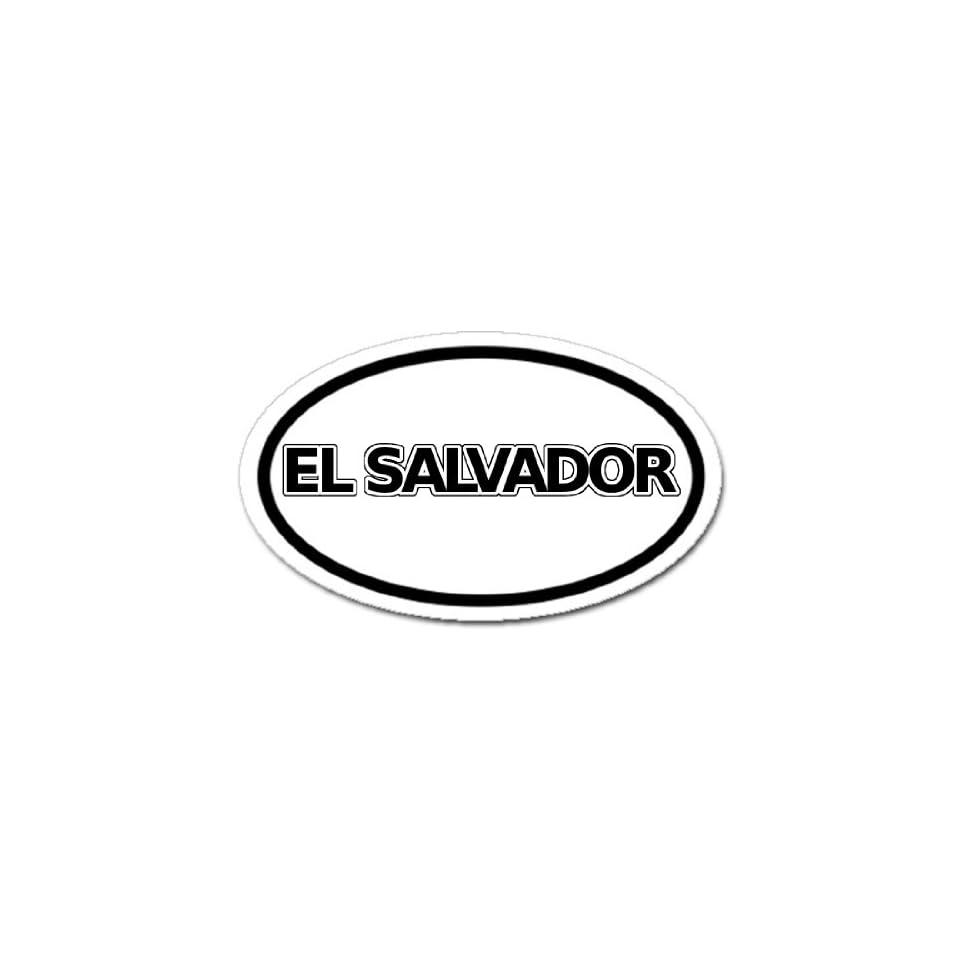 El Salvador Flag Car Bumper Sticker Decal Oval Black and White