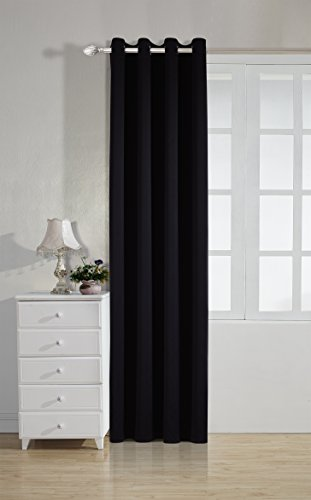 Linkedin Store Blackout Room Darkening Curtains Window Panel Drapes - Black Color 1 Panel, 52 inch wide by 63 inch long each panel, 8 Grommets Rings per panel (Thermal Striped Pair Of Curtains compare prices)