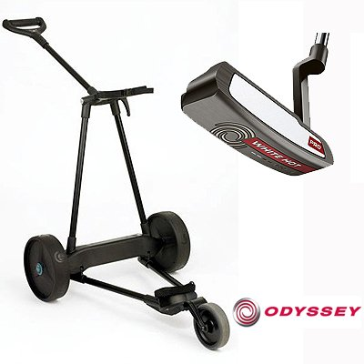 New! Emotion E3 23Lbs Pull Push Electric Motorized 3-Wheel Golf Cart Trolley + New! Odyssey White Hot Pro #1 Putter