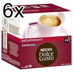 Nescafé Dolce Gusto Espresso Decaffeinato, Pack of 6, 6 x 16 Capsules