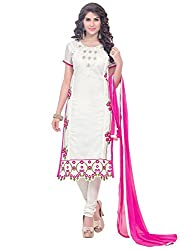 Latest Embroidered Chanderi OffWhite Dress Material