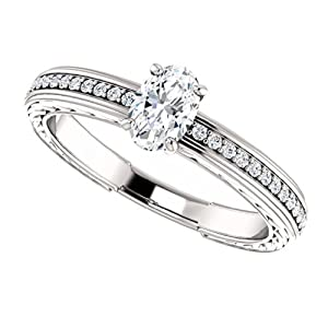 14K White Gold Oval Cut Diamond Engagement Ring