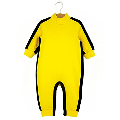 Vine Pagliaccetti per Bambini Bambino Cotone Manica lunga Bruce Lee Giallo Jumpsuit, 6-12 Mesi