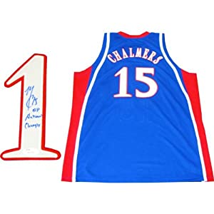 Mario Chalmers 08 National Champs Autographed Kansas Jayhawks Blue Jersey (JSA) by Hollywood+Collectibles