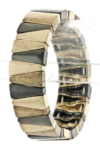 Trendy Fashion Jewelry Alternate Triangle Bracelet By Fashion Destination   (Gold/Hematite)