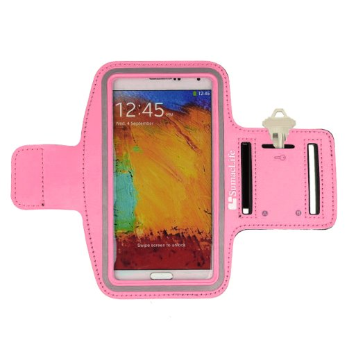 Sumaclife Armband - Gummy Pink Sport Workout Neoprene W/ Key & Earphone Holder For Samsung Galaxy Note 3 & 2 Android Phone