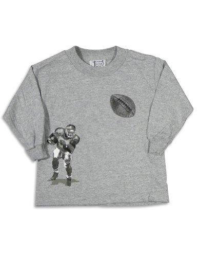Mis Tee V-Us - Baby Boys Long Sleeve Football T-Shirt, Grey 27077-18Months front-510739