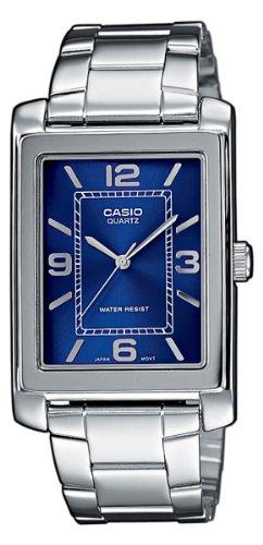 Casio MTP-1234D-2AEF Gents Watch Quartz Analogue Blue Dial Silver Steel Strap