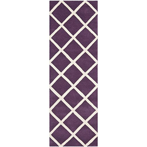 Safavieh Chatham Collection CHT720F Handmade Purple and Ivory Wool Runner, 2 feet 3 inches by 7 feet (2'3