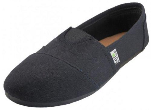 Womens Canvas Slip on Shoes Flats 2 Tone 10 Colors (7, B/B 308L)