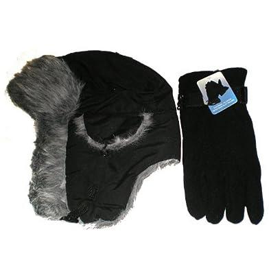 Adults black trapper hat and black fleece gloves