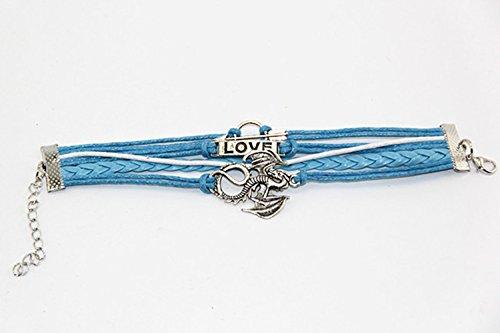 Handmade Arrow Dragon Charm Friendship Gift Fashion Jewelry Leather Bracelet – Blue