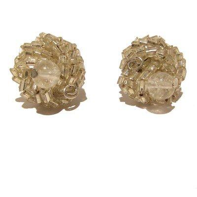Quartz Earrings 22 Stud Beaded White Clear Orb Crystal Healing Stone 0.8
