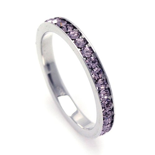 2.5mm Sterling Silver Channel Set Cubic Zirconia June Birthstone Alexandrite Simulant Eternity Ring Band (Sizes 3 to 9) - Size 3