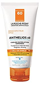 La Roche-Posay Anthelios Cooling Water-Lotion, Face and Body Sunscreen with Antioxidants, 5 Fl. Oz.
