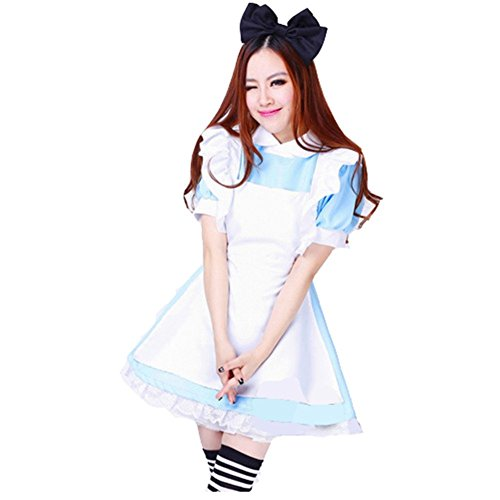 Ucsports Alice nel paese delle meraviglie, Maid Cosplay Costumes-Costume da Halloween M bust 85cm waist 70cm length 80cm