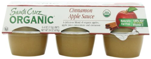 Santa Cruz Organic Apple Cinnamon Sauce, 6-Pack, 4-Ounce Cups (Pack of 4)
