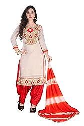 RajLaxmi Women's Fashion Beige & Orange Chanderi Silk Dress Material