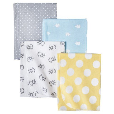 Circo Monkeys n Dots 4pk Receiving Blanket
