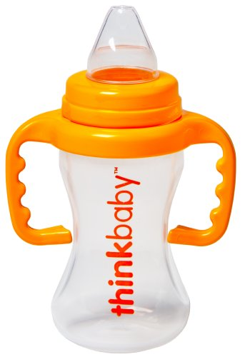 Thinkbaby BPA Free No Spill Sippy Cup, Orange/Natural, 9 Ounce - 1