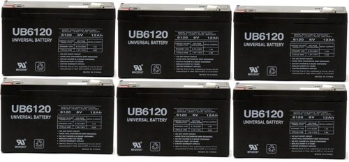 6V 12Ah F1 Lithonia Elb-0610 Replacement Rhino Battery - 6 Pack