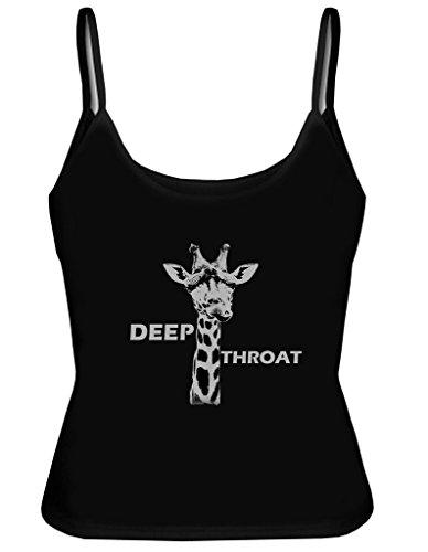 Custom Women's Deep Throat Tank Tops Shirt With Spaghetti Straps US S Black