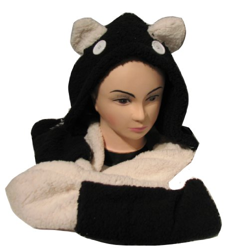 Girls Panda Fleece Fashion Winter Scarf with Hand Pockets in Two Tone Black White