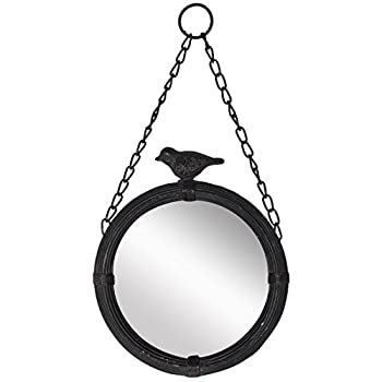 "NIKKY HOME 11.25"" Round Cute Pretty Metal Framed Wall Mounted Mirror with Bird, Vintage Antique Style in Matt Black"