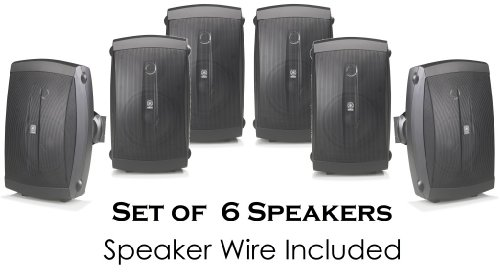 "Yamaha All Weather Indoor & Outdoor Wall Mountable Natural Sound 120 Watt 2-Way Acoustic Suspension Speakers (Set Of 6) Black With 5"" High Compliance Woofer, 1/2"" Pei Dome Tweeter & Wide Frequency Response + 100 Ft 16 Gauge Speaker Wire - Compatible With"