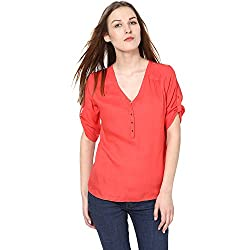 Harpa Women's Body Blouse Shirt (GR2172-Coral_Small)