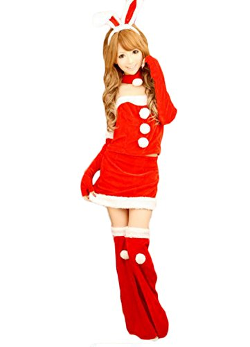 Coolsky Bunny Girl Santa Christmas Suit Costume