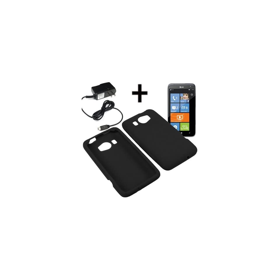 AM Soft Sleeve Gel Cover Skin Case for AT&T HTC Titan II + Travel Charger Black