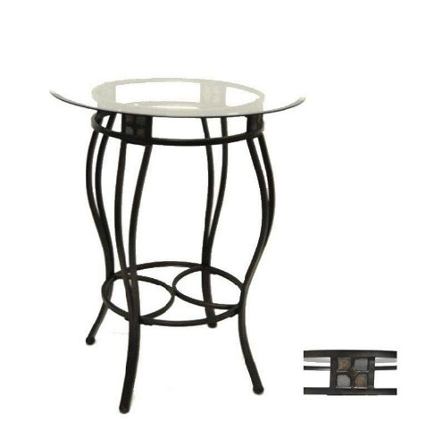 Metal Counter Height Pub Table with Glass Top in Black/ Gold Finish
