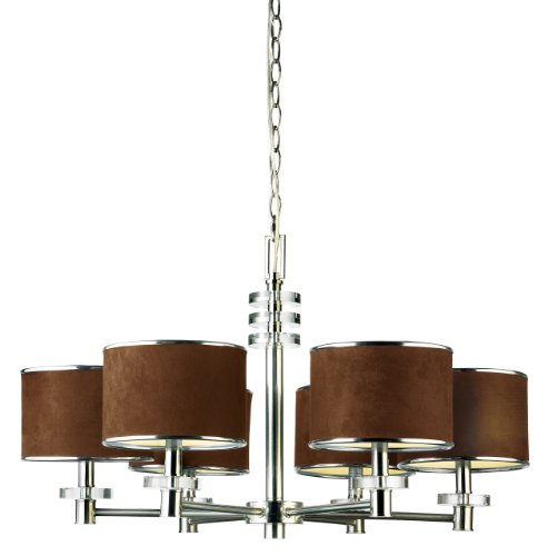 Eurofase 15862-013 Savvy 6-Light Chandelier, Satin Nickel/Brown