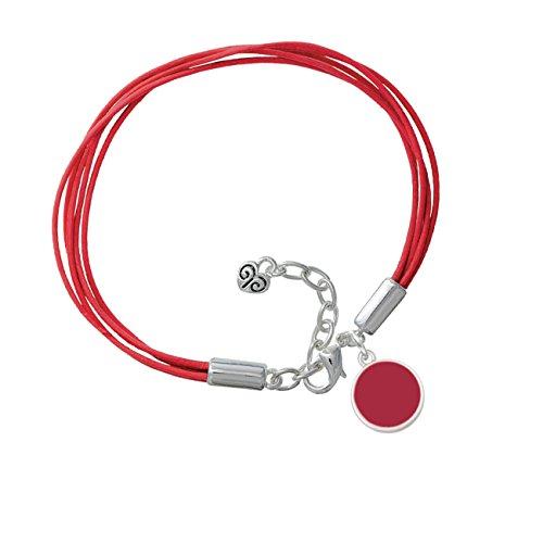 Small Maroon Enamel Disc Red Leather Aruba Bracelet