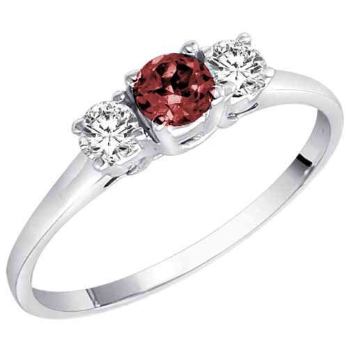DivaDiamonds 18ct Gold Round 3 Stone Ruby and Diamond Ring (0.45 cttw)