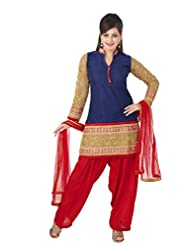 Ritu Creation Women's New Silk Stitched Patyala Suit With Sleeve Work