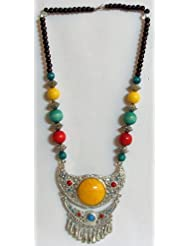 Multicolor Stone Bead Necklace And Two Layer Metal Pendant With Yellow Stone - Beads And Metal