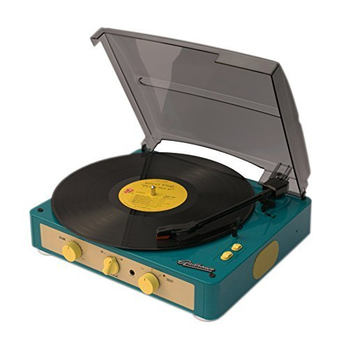 Gadhouse Brad Vintage Record Player 3-speed Turntable Built in Bluetooth, Stereo Speakers, Headphone Jack, Aux Input for Smartphone, RCA Line Out Jacks (Retro Green)