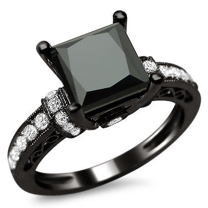 1.90Ct Black Princess Cut Diamond Engagement Ring 14K Black Gold Rhodium Plating Over White Gold With A 1.53Ct Center Diamond And .37Ct Of Surrounding Diamonds