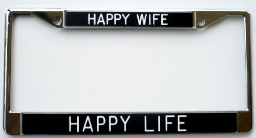 Happy Wife Happy Life black Shiny Metal License Plate Frame ...