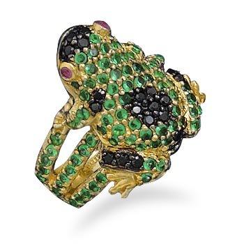 14 Karat Gold Plated CZ Frog Ring