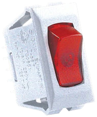 Jr Products (12501-5) White/Red 12V Lamp On/Off Switch, (Pack Of 5)