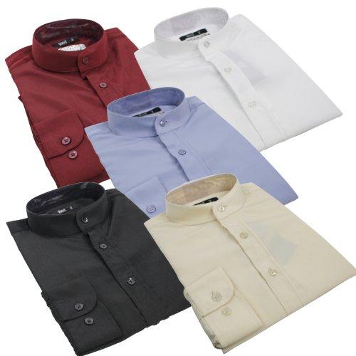 Mens Chinese Grandad Collar Formal Casual Button Shirt Maroon White Black Blue Cream