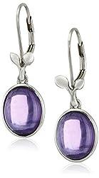 Sterling Silver and Oval Gemstone Leaf Earrings