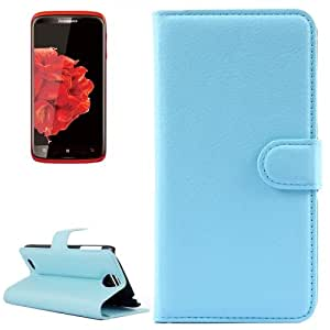 Horizontal Flip Solid color Leather Case with Card Slots & Holder & Wallet for Lenovo S820 (Blue)