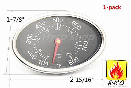 Hyco Replacement Lid Thermometer Gas Grill Stainless Steel Heat Indicator For Aussie, BBQ Grillware, Brinkmann, Uniflame and Other gas grill Models, hy22549 (1-pack) (Grill Thermometer Replacement compare prices)