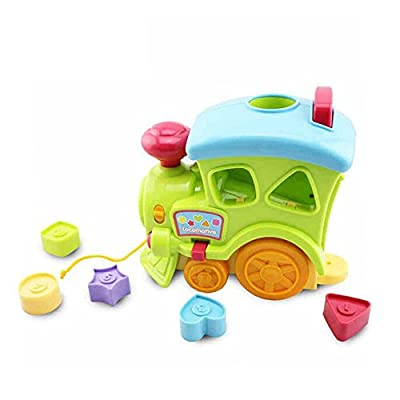 Beby Pull Along Music Trailer Toys and Block Shape Sorter Stacking for Infant Toddlers Baby Educational
