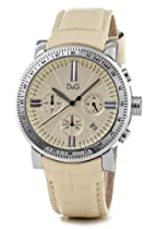D&G Ladies Watch DW0678 with Cream Chronograph Dial, Date, Stainless Steel Case and Cream Leather Strap